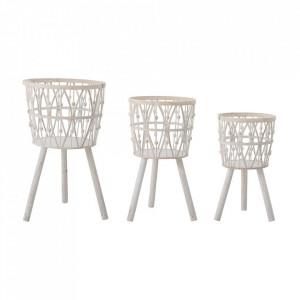 Set 3 suporturi pentru ghivece albe din bambus Ayana Creative Collection