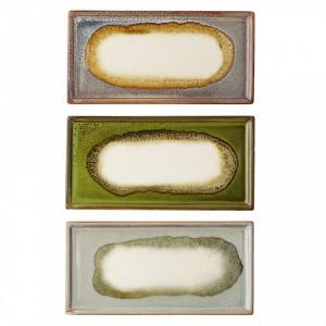 Set 3 tavi aramie din ceramica 10x20 cm Palma Bloomingville