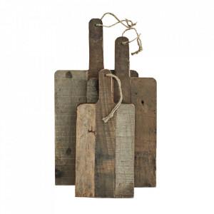 Set 3 tocatoare dreptunghiulare maro din lemn Nature Madam Stoltz