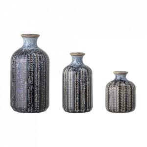 Set 3 vaze albastre din ceramica Evys Bloomingville