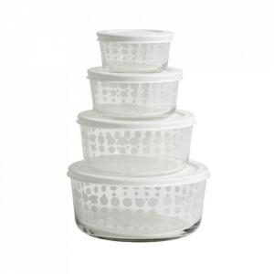 Set 4 boluri transparente/albe din sticla 19 cm Keep Nordal
