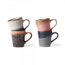 Set 4 cani multicolore din ceramica 80 ml Espresso Mugs HK Living
