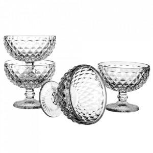 Set 4 cupe pentru inghetata transparente din sticla Diamond Unimasa
