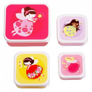 Set 4 cutii pentru pranz multicolore din polietilena Fairy A Little Lovely Company