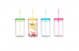 Set 4 pahare multicolore din sticla si plastic cu capac si pai 460 ml Dots Zeller