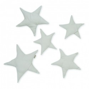 Set 5 decoratiuni gri din bumbac organic pentru perete Stars Light Grey Cam Cam