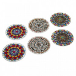 Set 6 coastere multicolore din sticla Mandalas Versa Home