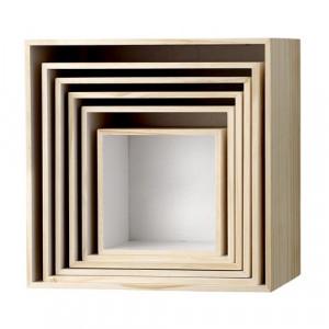 Set 6 cutii patrate pentru perete natur/alb Bloomingville