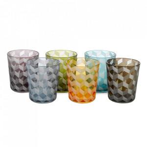 Set 6 pahare multicolore din sticla Blocks Pols Potten