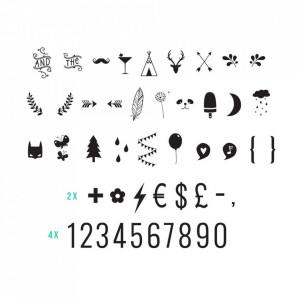 Set 85 de numere si simboluri pentru caseta luminoasa negre Joy A Little Lovely Company