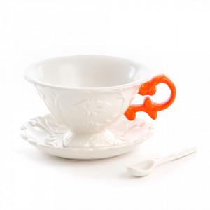 Set ceasca cu farfurioara din portelan alb pentru ceai cu 7x13cm I-Wares Orange Seletti