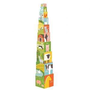 Set de construit 10 piese din hartie pentru copii Farm Petit Collage