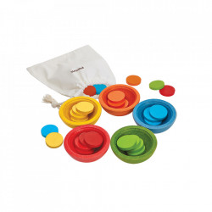 Set de joaca multicolor din lemn Sort and Count Cups Plan Toys