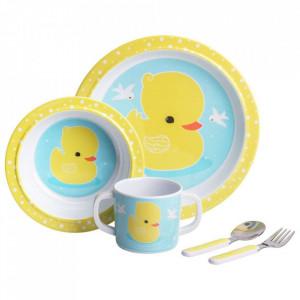 Set de masa 5 piese multicolore din melamina Duck A Little Lovely Company
