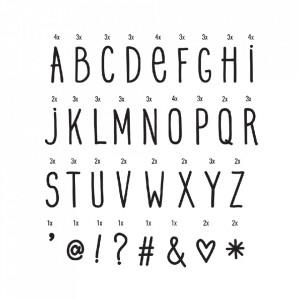 Set litere pentru caseta luminoasa negre Hand Drawn A Little Lovely Company