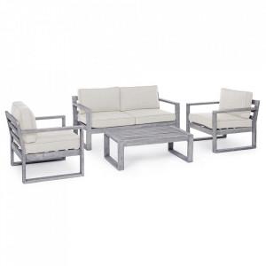 Set masa cafea cu banca si 2 scaune lounge gri din lemn si poliester pentru exterior Haiti Bizzotto