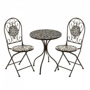 Set masuta si 2 scaune pliabile multicolore din ceramica si metal pentru exterior Garden Dainty Unimasa