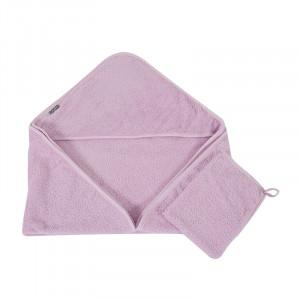 Set prosop cu gluga si manusa de baie roz din bumbac Brett Quax