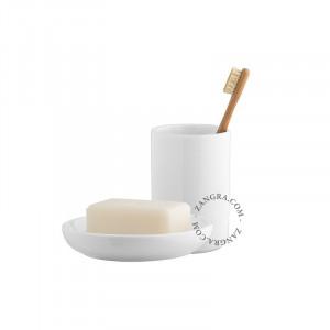 Set savoniera si suport din ceramica Marvin White Zangra