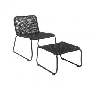 Set scaun lounge negru si suport picioare Lounge Bloomingville