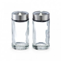 Set solnita si pipernita din sticla si inox Salt Pepper 35 ml Glass Zeller