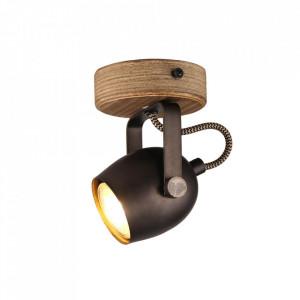 Spot maro/negru din lemn si metal Tool Brilliant