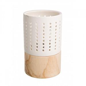 Suport alb/maro din portelan pentru lumanare 13 cm Rustik Hole Bizzotto