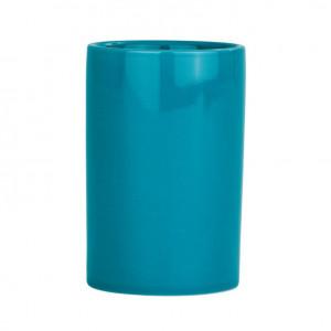 Suport albastru petrol din ceramica pentru periuta dinti 7x11 cm Polaris Wenko
