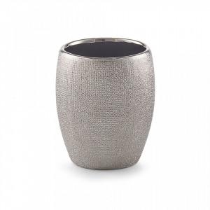 Suport argintiu din ceramica 8,1x9,8 cm pentru periuta dinti Glitter Tumbler Silver Zeller