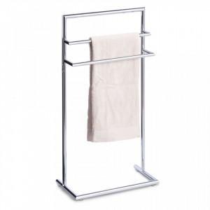 Suport argintiu din metal pentru prosoape Towel Rack Decor Chromed Zeller