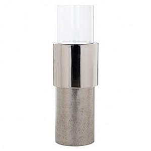 Suport argintiu/transparent din aluminiu si sticla pentru lumanare 100 cm Orvyn Richmond Interiors