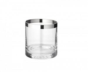 Suport argintiu/transparent din sticla cristal pentru lumanare 8 cm Molly Edzard