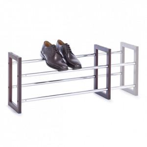 Suport extensibil argintiu/maro din metal si lemn pentru incaltaminte Shoes Zeller