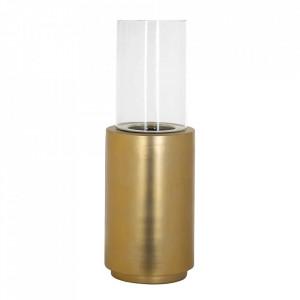 Suport lumanare auriu/transparent din fier si sticla 70 cm Fenton Richmond Interiors