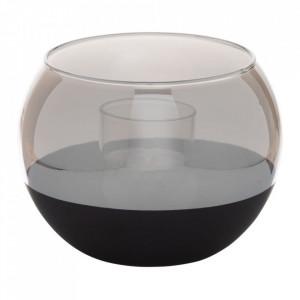 Suport lumanare neagra/gri din sticla 10 cm Annelles Ixia