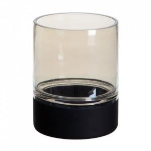 Suport lumanare neagra/gri din sticla 20 cm Cauroy Ixia