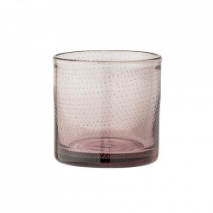 Suport lumanare roz din sticla 10 cm Mya Bloomingville