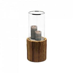 Suport maro/argintiu din lemn de tec si sticla pentru lumanare 57 cm Greyburn Edzard