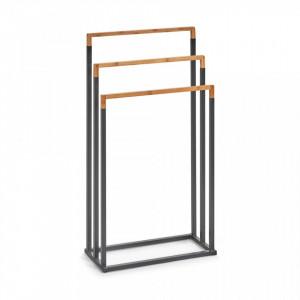 Suport negru/maro din metal si lemn pentru prosoape Towel Stand Bamboo Black Zeller