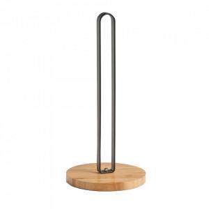 Suport servetele negru/maro din metal si lemn Caprio Zeller