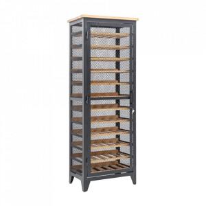 Suport sticle maro/gri din lemn si fier Bodega Invicta Interior
