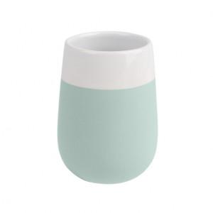 Suport verde menta/alb din ceramica pentru periuta dinti 8x11 cm Malta Wenko