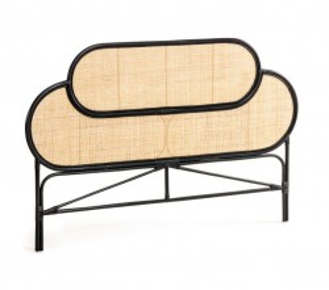 Tablie pat negru/crem din ratan 170 cm Lalita Black Kave Home