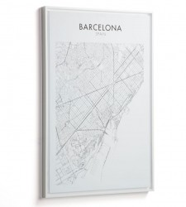 Tablou alb/negru din lemn 50x70 cm Uptown Barcelona La Forma