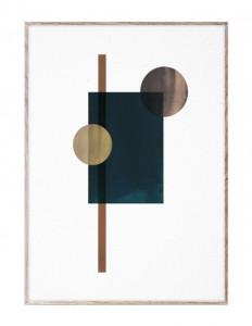 Tablou cu rama din lemn de stejar 50x70 cm Shapes of Colour 04 Paper Collective
