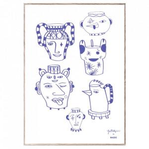 Tablou cu rama din lemn de stejar Pots&Vases Blue Paper Collective