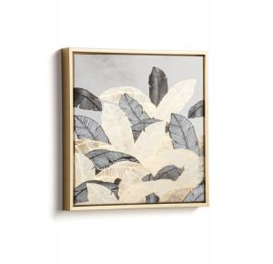 Tablou gri/auriu din lemn 40x40 cm Ibisco Kave Home