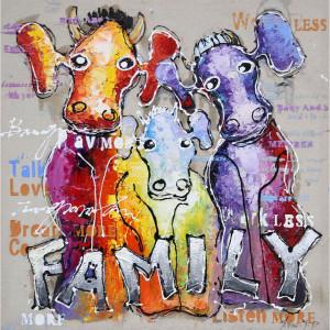 Tablou multicolor din canvas si lemn 100x100 cm Family Ter Halle