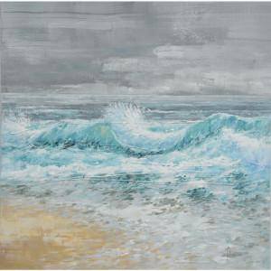 Tablou multicolor din canvas si lemn 100x100 cm Wave Ter Halle