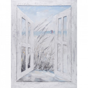 Tablou multicolor din canvas si lemn 90x120 cm Window Ter Halle